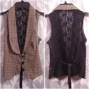 Plaid & Floral Lace - Brown & Black Vest - size XS